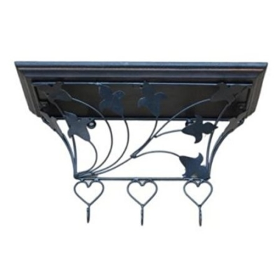 Desi Karigar Wooden & Wrought Iron Wall Bracket, Cloth Hanger