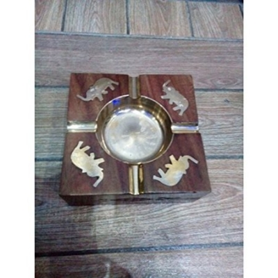 Desi Karigar Wooden Premium Quality Antique Ashtray With Brass Elephent Design``