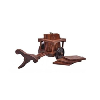 Desi Karigar Wooden Tea Coffee Coaster Set Cart Shape Office Home Decor Dining Accessory