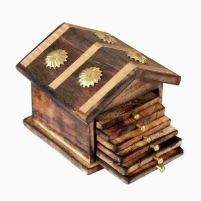 Desi Karigar Wooden & Brass Antique Hut Shape Coaster Set Home Decor Gift Item