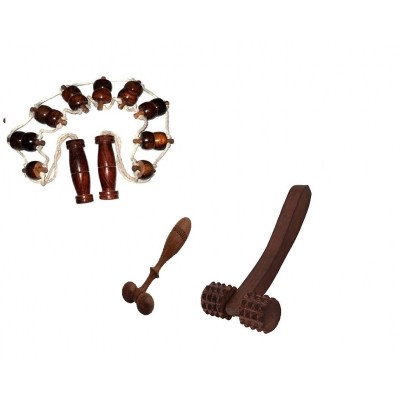 Desi Karigar 3 Pc Wooden Acupressure Massager Set  (back Massager, Face Massager & 2 Cutter Roller Massager )