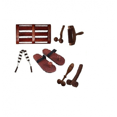 Desi Karigar Complete Kit Of 7 Pcs Wooden Acupressure Massage