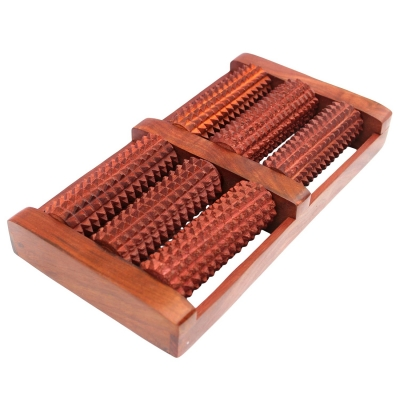 Desi Karigar Wooden Foot / Feet Massager 6 Roller Stress Acupressure Feet Stress Reliever