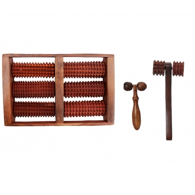 Desi Karigar Wooden Set Of Wooden 6 Roller Foot/feet Massager