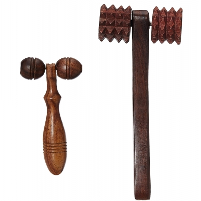Desi Karigar Fancy Wooden Set Of 2 Handy Cutter Massager And Face Massager