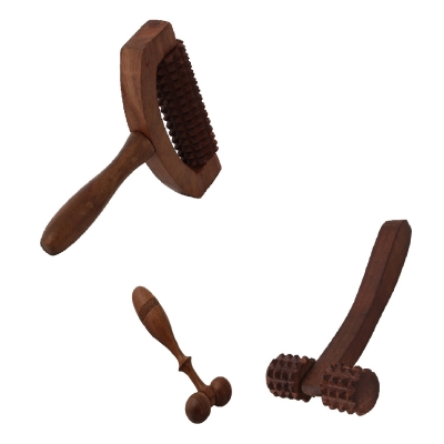 Desi Karigar Wooden Set Of 3 Hand Massager Roller Body Stress Acupressure Acupuncture Cutter Massagers