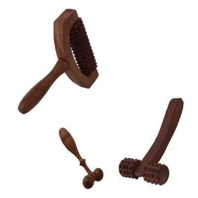 Desi Karigar Wooden Set Of 3 Hand Massager Roller Body Stress Acupressure Acupuncture Cutter Massagers
