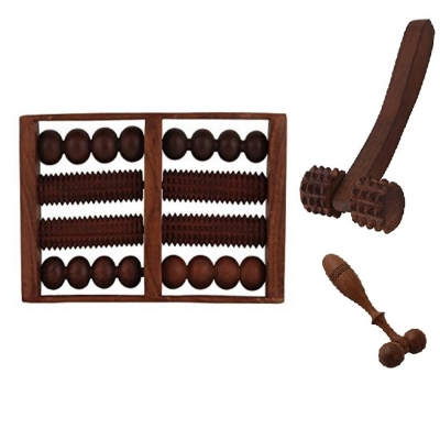 Desi Karigar Wooden Set Of Wooden 8 Roller Foot/feet Massager For Body Stress Acupressure Feet Care +finger Cum Face Massager + Hand Massager