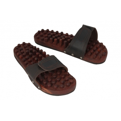 Desi Karigar Wooden Foot Acupressure Slipper Massager Acupuncture Yoga Body Stress Massager Fitness