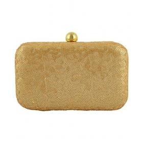 Gold Fabric Box Clutch