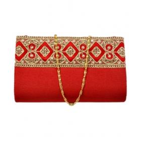 Red Fabric Box Clutch