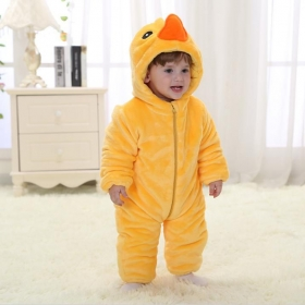 Unisex Baby Kidslounge New Fashion Spring Autumn Baby Clothes Flannel Catoon Animal Jumpsuit - Duck Romper
