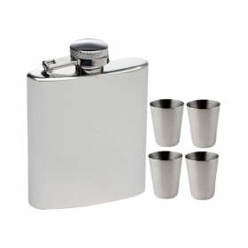 8 Oz Hip Flask With 4 Shot Glasses