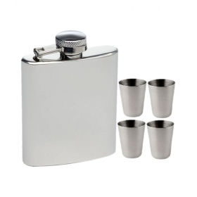 9 Oz Hip Flask With 4 Shot Glasses