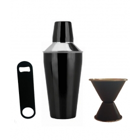 Bar Set - Cocktail Shaker, Double Sided Peg Measurer And Bottle Opener