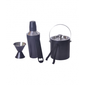 Black Cocktail Shaker Double Sided Peg Measure Double Wall Ice Bucket And Ice Tong And Bottle Opener - Set Of 5