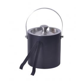 Black Double Wall Ice Bucket And Ice Tong