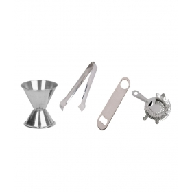 Stainless Steel Bar Set Of 4 Pecs - Ice Tong, Peg Measure, Bottle Opener, And Strainer