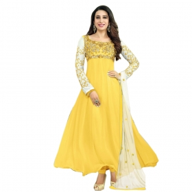 Trendy Yellow Color Designer Embroidery Suit