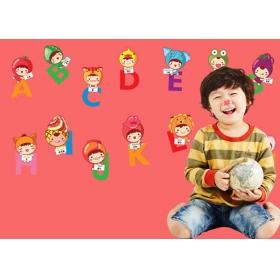 Lc6002 Cartoon Abcd Kids Room Wall Sticker  Jaamso Royals