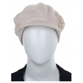 Cream Woolen Cap For Women