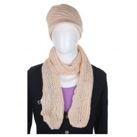 Cream Woolen Cap With Muffler For Women