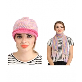 Multicolour Woolen Cap With Muffler For Women