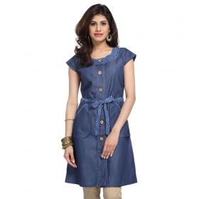 Blue Printed Denim Tunic