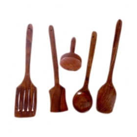 Desi Karigar Wooden Sheesham Ladel Set Of 4 + 1 Masher