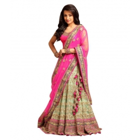 Fashion Pink Nylon Circular Semi Stitched Lehenga