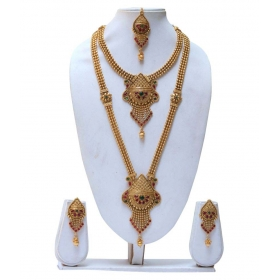 Maroon Colour Harem Colour Necklace Set With Jhumka