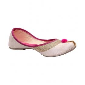 White Flat Ethnic Footwear