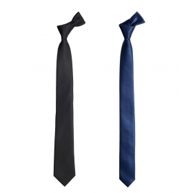 Fashion Circuit Combo Of Navy Blue & Black Satin Plain Formal Narrow Tie For Men
