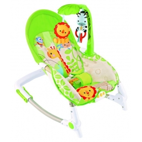 Baby Bouncer Cum Rocker With Vibration Function, Music And 2 Toys (zebra & Lion Green)