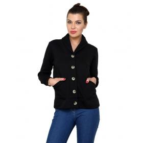 Black Cotton Blend Jackets