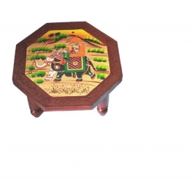 Royals Wooden Table/ Small Stool/chowki/ Plant Table Handmade Vintage Wooden Puja Chowki 15 Inch