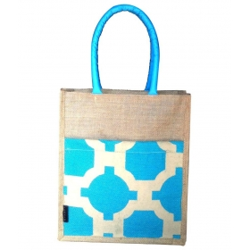 Jute Turquoise Lunch Bag