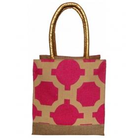 Foonty Jute Pink Lunch Bag