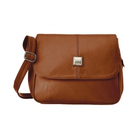 Brown Faux Leather Sling Bag