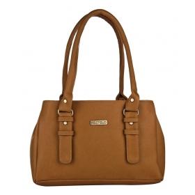 Tan P.u. Shoulder Bags