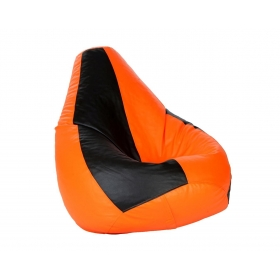 Comfy Xxl Bean Bag With Beans In Black And Orange