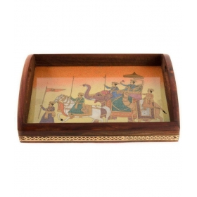 Square Wooden Bar Tray 1 Pcs