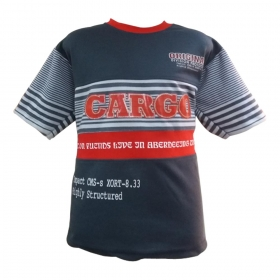 Global Heart Stripe  Half Sleeves T-shirt - Gray