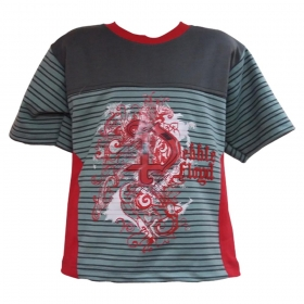 Global Heart Boys Gray Printed Round Neck T-shirt