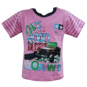 Global Heart Half Sleeves Tshirt Car Printed - Pink