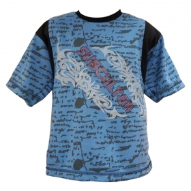 Global Heart Half Sleeves Tshirt Subcultor Printed - Sky Blue