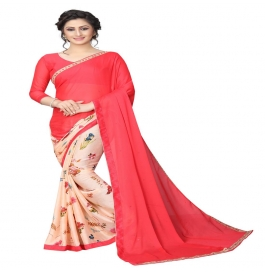 Women's Latest Design Pink Color Printed Saree