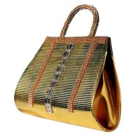 Ladies Bag Gold Fabric Box Clutch