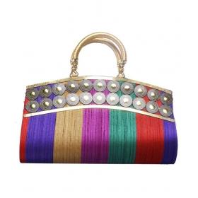 Ladies Bag Multi Fabric Box Clutch