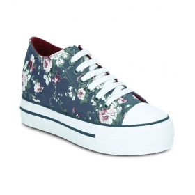 Blue Flower Design Sneakers